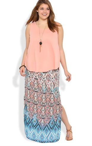Plus Size Maxi Skirt with Diamond Tribal Print and Side Slit