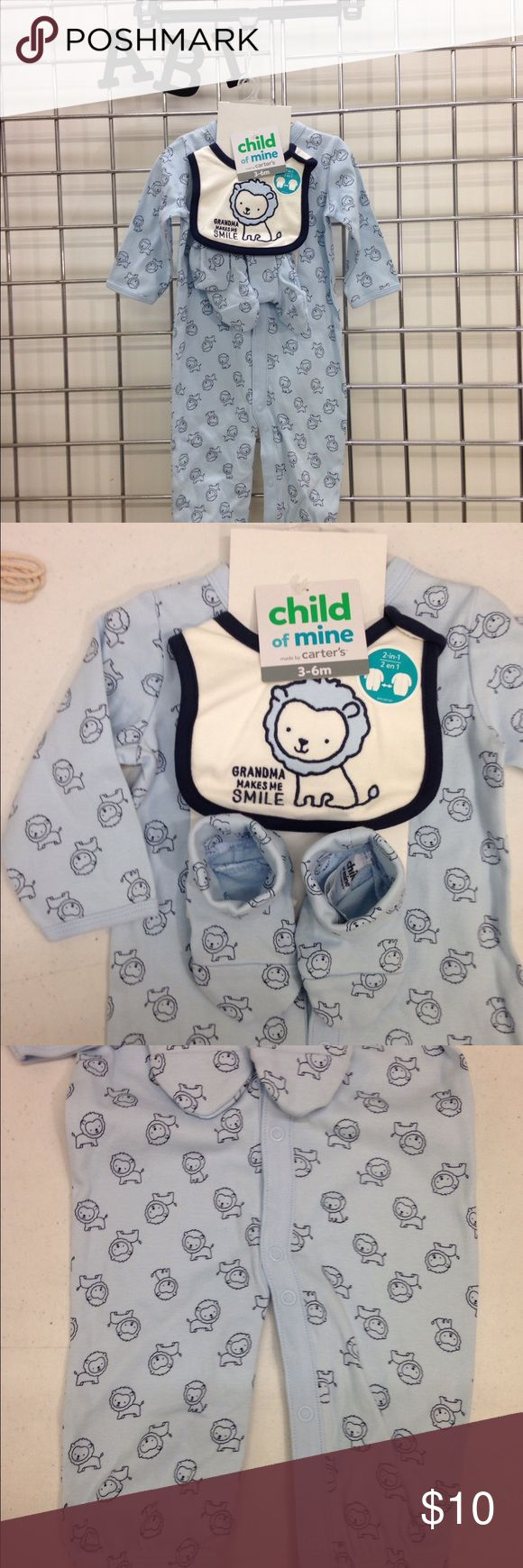 Child of Mine Carters 0-3 month 3 piece set. Child of Mine Carters 0-3 month 3 piece set.  Booties, bib and 1 piece snap front.  Can be snapped 2 ways, with legs or as a sack, long sleeve romper.  8-12.5 lbs. 21.5-24 in. Carters Matching Sets