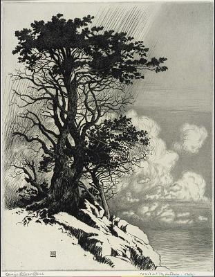 'Coast at Monterey, California', by George Elbert Burr. 1859-1939 Etching & Drypoint