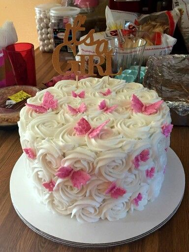 Girl baby shower Rose & butterfly cake