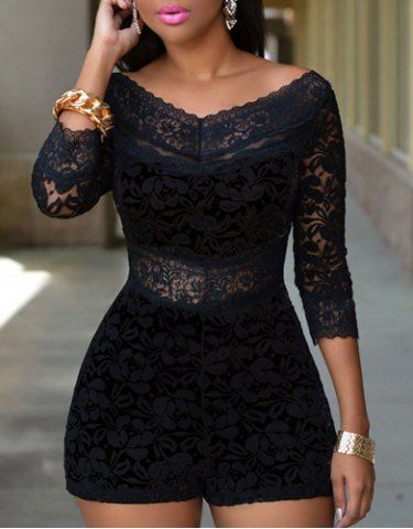 Alluring V-Neck See-Through 3/4 Sleeve Lace Romper For Women Jumpsuits & Rompers | RoseGal.com Mobile