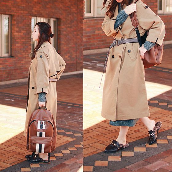 Get this look: http://lb.nu/look/8572229  More looks by Mizuho K: http://lb.nu/xoxohilamee  Items in this look:  Zaful Trench Coat, Coach Backpack, Xoxo Hilamee More Details On   #casual #chic #minimal