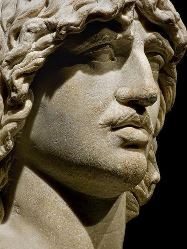 Closeup of Heroic Head of a Barbarian (probably a Gaul) 2nd century CE Roman copy of 250-180 BCE Greek original reportedly from Trajan's Forum. Picture by Mary Harrsch.