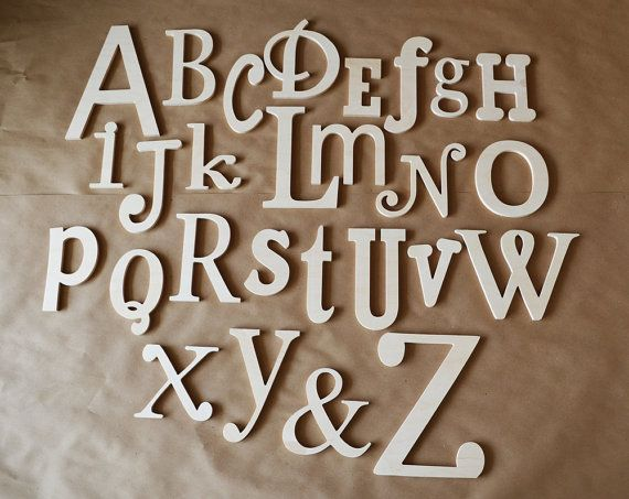 ON SALE- Unfinished Wooden Alphabet Set - Wooden Letter- Alphabet Wall - ABC Wall-