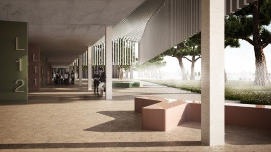 View of classroom corridor. Image Courtesy of Inter National Design