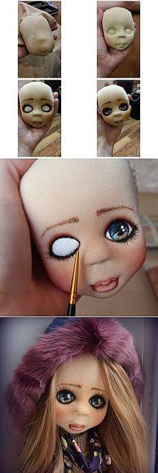 Процессы создания объёмного лица текстильной куклы