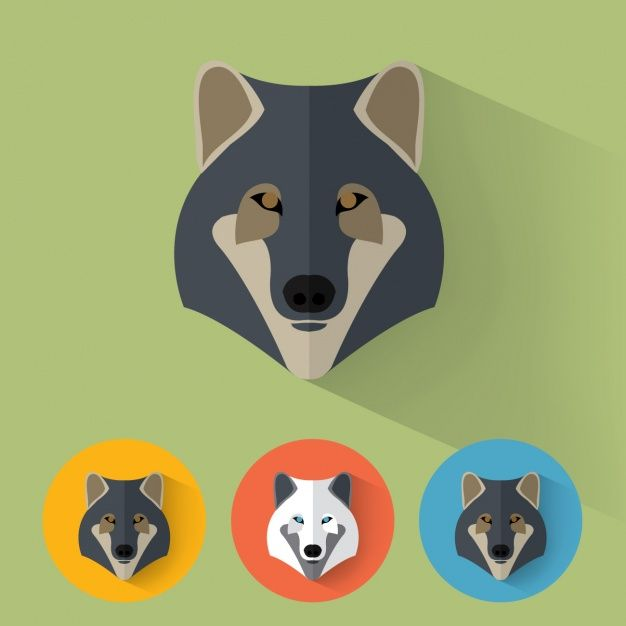 Wolf designs collection Free Vector