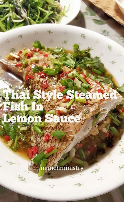 Thai Style Steamed Fish. The sweet, tangy and savoury sauce makes this healthy dish a winner! Everyone in the family loves it ;D