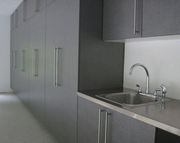 Garage storage cabinet design that includes stainless sink ...