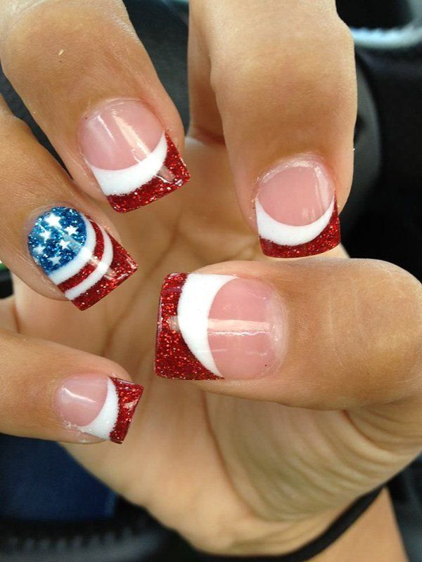 The American flag just couldn't get any better. Look at this amazing and sparkly American flag French manicure. Using the regular colors of the flag which are royal blue, red and white, the colors are then accented by glitters. Clear nail polish is used as base while the red polish with the glitters are artistically used as the tips.