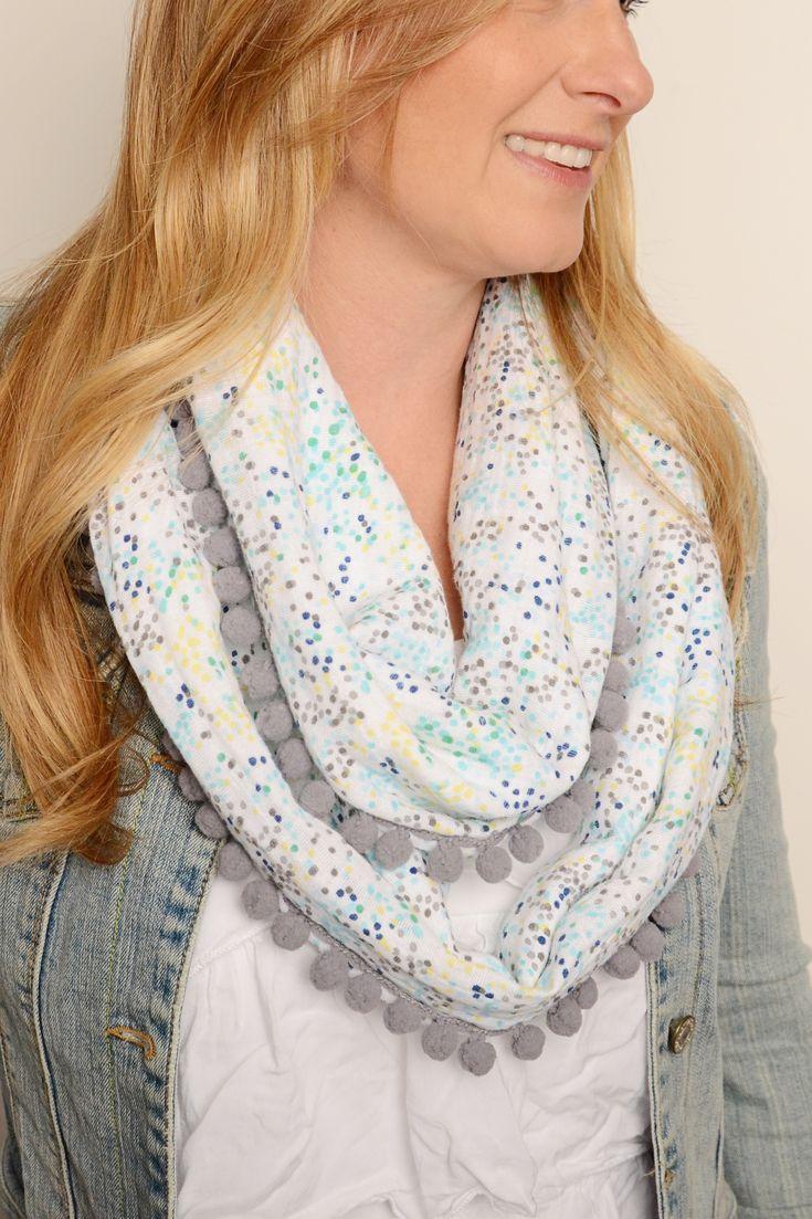 Embrace Double Gauze Pom Pom Infinity Scarf Free DIY sewing pattern