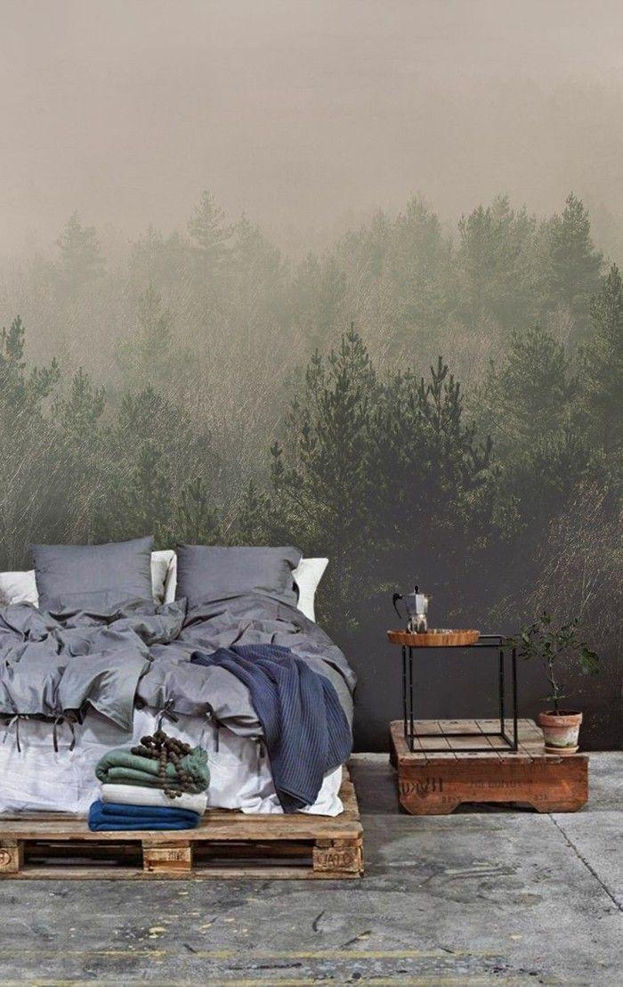 Dekoideen Schlafzimmer Ausgefallene Tapete Palettenbett Beistelltisch