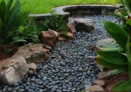 Dry creek bed drainage for downspout google search for Landscape drainage