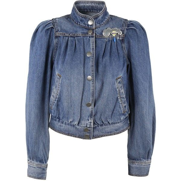 Shrunken 80s Denim Bomber ($382) ❤ liked on Polyvore featuring outerwear, jackets, antique indigo, blue bomber jacket, 1980s leather jacket, long sleeve denim jacket, marc jacobs jacket and bomber jackets