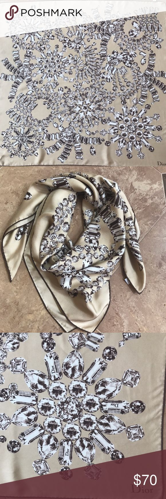Authentic Dior Silk Scarf Authentic Christian Dior Silk Scarf. 100% silk. Diamond gemstone print, brown piping on borders. Light beige with white and brown illustration. Excellent condition. Christian Dior Accessories Scarves & Wraps