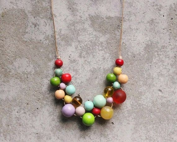 Wooden bead necklace boho bib necklace gypsy lilac by LeafFeather