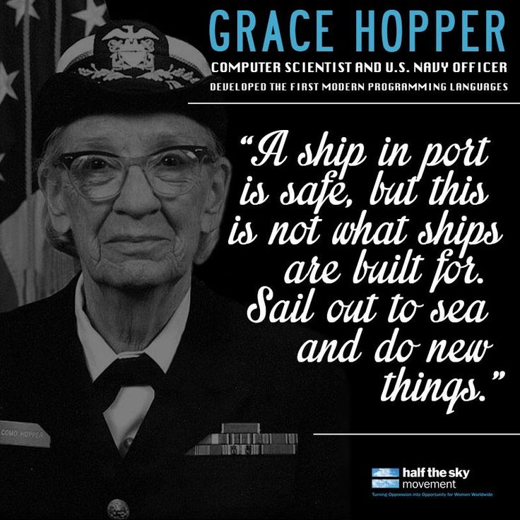 Grace Hopper, a computer scientist and US Navy officer developed the first computer programming language. She inspires us! Does she inspire you?    Learn more about Women's History Month and other inspiring women like Grace Hopper: http://www.nwhp.org/whm/history.php