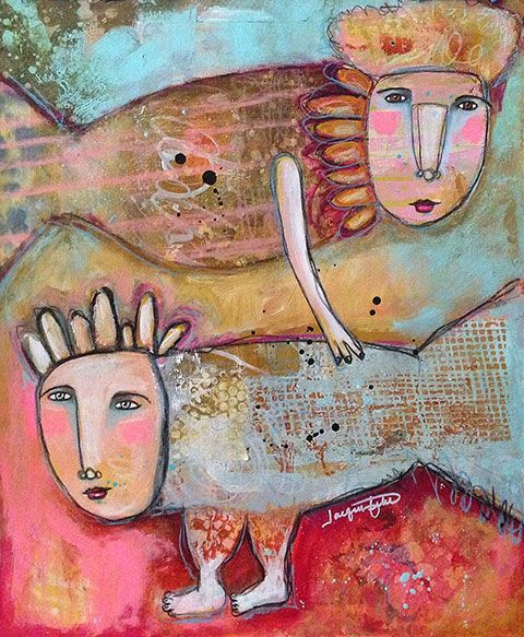 """Fish Folk 2"" - mixed media by Jacqui Fehl"