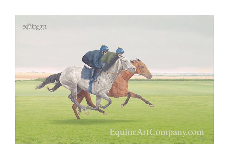 This striking equestrian art print depicts a pair of racehorses working on an overcast morning, on the Summer Canter of Newmarket Heath. Originally painted in oil on canvas, this painting captures the spirit of enjoyment and competition between two thoroughbreds exercising on the gallops.