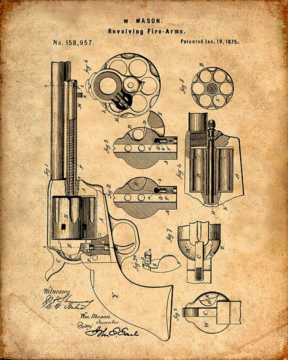 Se trata de una copia de la patente de dibujo para una patente del revólver de Mason en 1875. La patente original ha sido limpiada y mejorado para crear una pieza de exhibición atractiva para su hogar u oficina. Esto es una gran manera de poner tus intereses y aficiones en exhibición. Idea de regalo maravilloso también. La imagen se imprime en papel ácido, profesional gratis, archivo mate arte dando la imagen de colores ricos y vibrantes. Impresiones son empaquetadas en fundas libres de…
