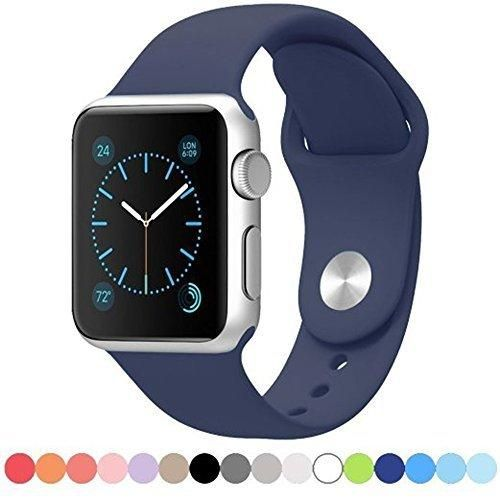 Apple Watch Replacement Band - YiaMia Soft Silicone Replacement Sports Wristbands Straps for Apple Wrist Watch iWatch All Models Formal Colors S/M Size- 38mm/Midnight Blue