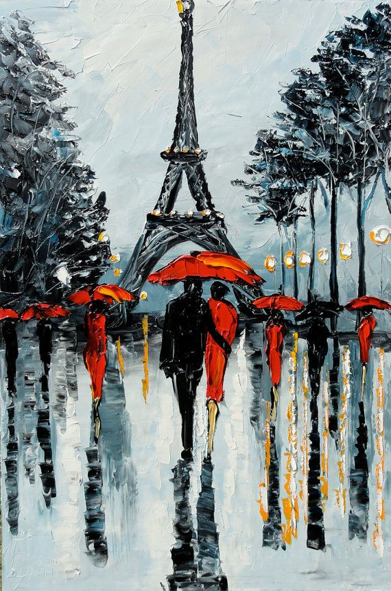 PARIS Painting Palette Knife Painting Abstract Art by GoldieK
