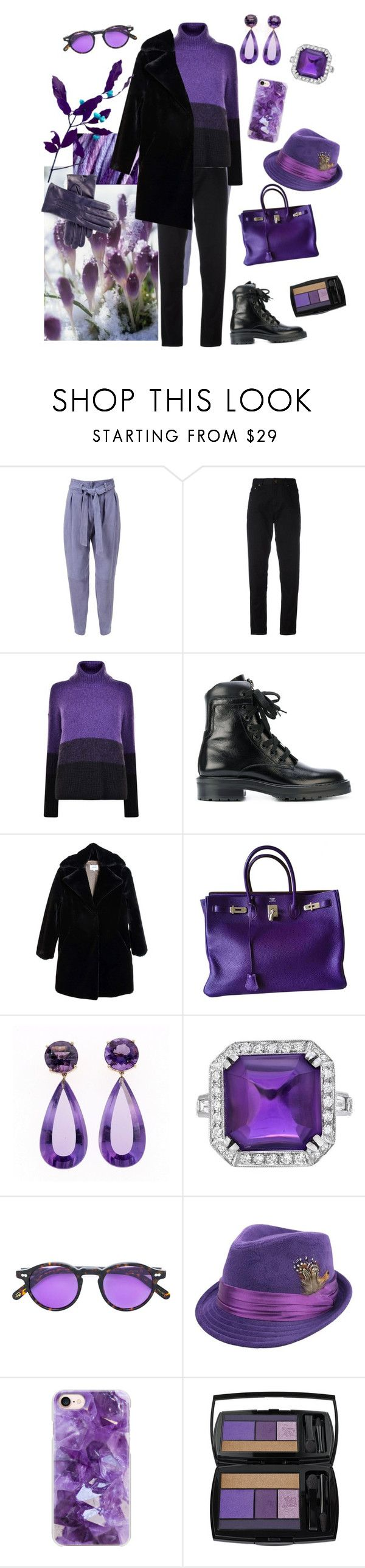 """february style"" by adm76 ❤ liked on Polyvore featuring Yves Saint Laurent, BOSS Orange, Nanushka, Hermès, Moscot, Casetify, Lancôme and Black"