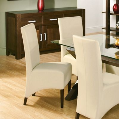 Debenhams Pair Of Lyon Ivory Faux Leather Chairs At