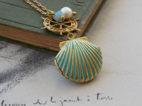 Shell Locket Charm Necklace Vintage Brass Helm by kalypsocreations, $32.00