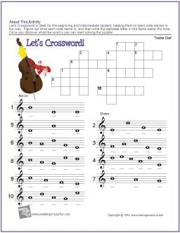 Let's Crossword! | Treble Clef Note Name Worksheet