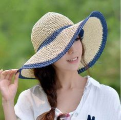Crochet wide brim straw hat for women UV floppy sun hats summer wear