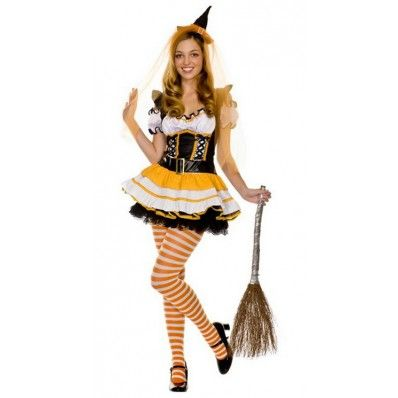 $24.98 ---Magic Wand Puff Sleeve Sexy Candy Corn Witch Costume Halloween Fancy Dress
