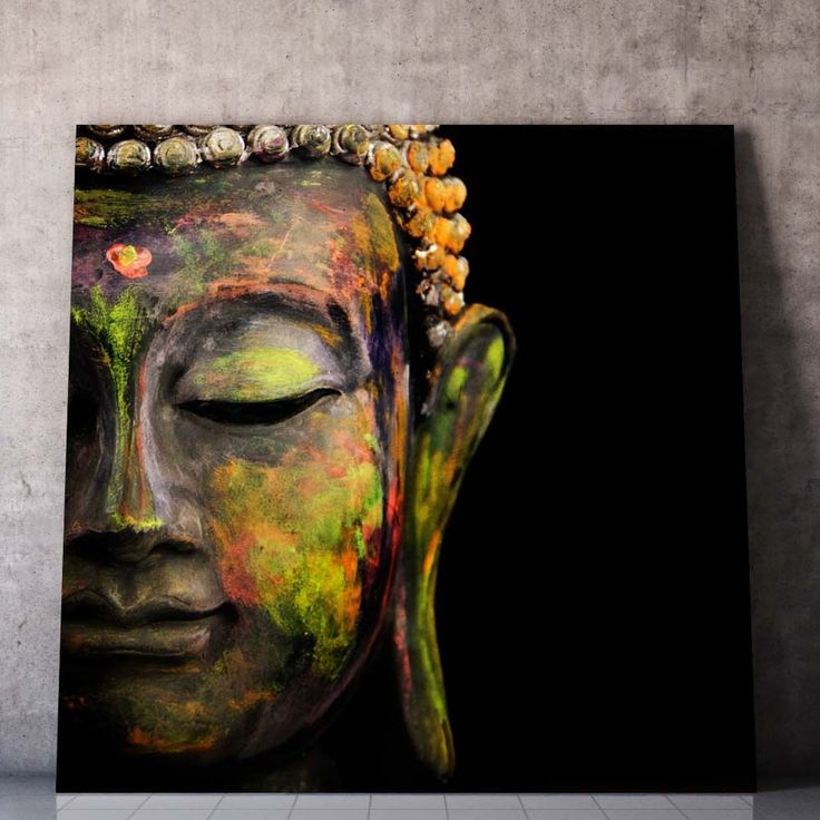 Buddha art canvas texture ethinic wall art print picture