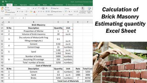 Calculation Of Brick Masonry Estimating Quantity Excel Sheet Brick Masonry Masonry Brick