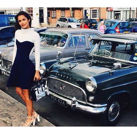Jo Renwick looking superb in our two tone dress, Annabel - the perfect wedding guest outfit! http://www.sdress.com/product/annabel-dress-2/