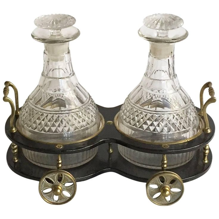 English Victorian Decanter Trolley and Decanters and Stoppers