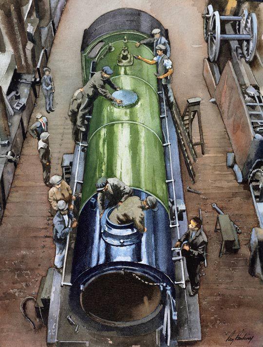 Fine Art Prints of Railway Scenes & Train Portraits - King Arthur in Eastleigh Works