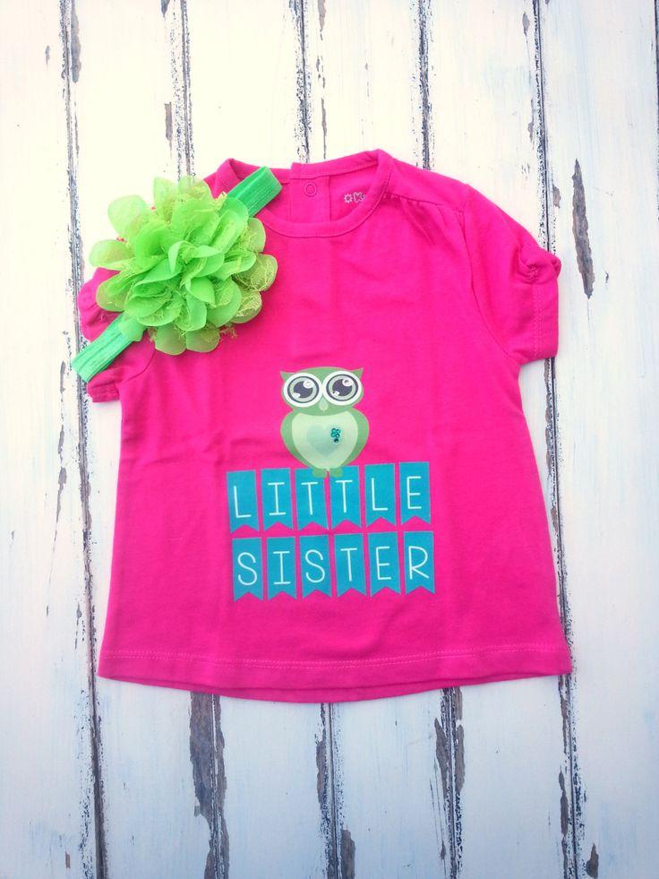 Little Sister Owl Shirt With Matching Headband, Owl Baby Girls Shirt, Girls T-Shirt 9 Months, Shirt With Rhinestones And Big Flower Headband by PinkAndBlueSugar on Etsy