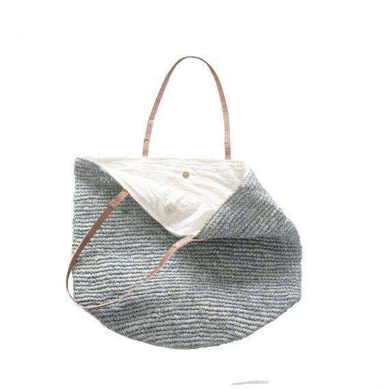 Beach bagStraw Bag Straw Beach BagLarge Bag by MOOSSHOP on Etsy