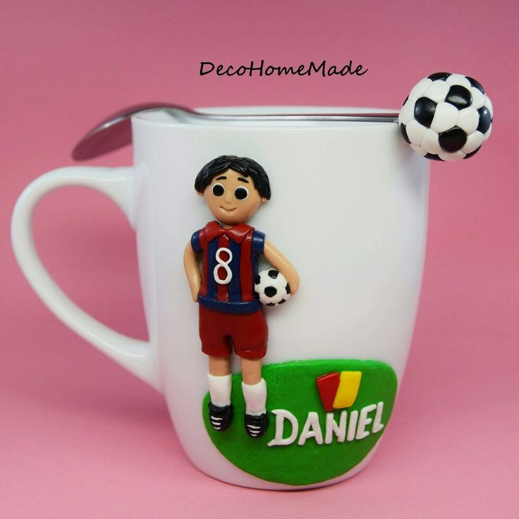 Polymer clay mug & spoon - football