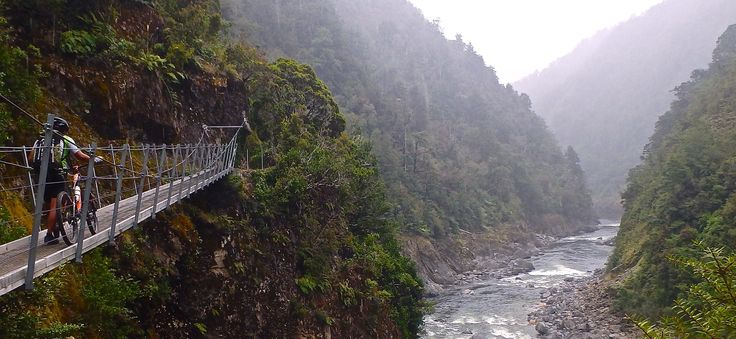 Swing bridge on the Old Ghost Road - Discovered on the South Island Mountain Bike tour
