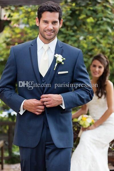 Moderno Aspen Slim Fit Noivo Smoking Ardósia Azul Lapela Entalhe De Casamento Groomsman Terno De Dois Botões Ternos Formais (Casaco+Calça+Colete)