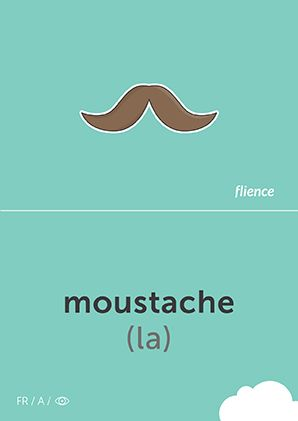 Moustache #CardFly #flience #human #french #education #flashcard #language