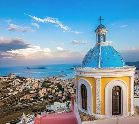 Stunning & colorful view , at Syros island (Σύρος) Impressive island with wonderful villages to discover .