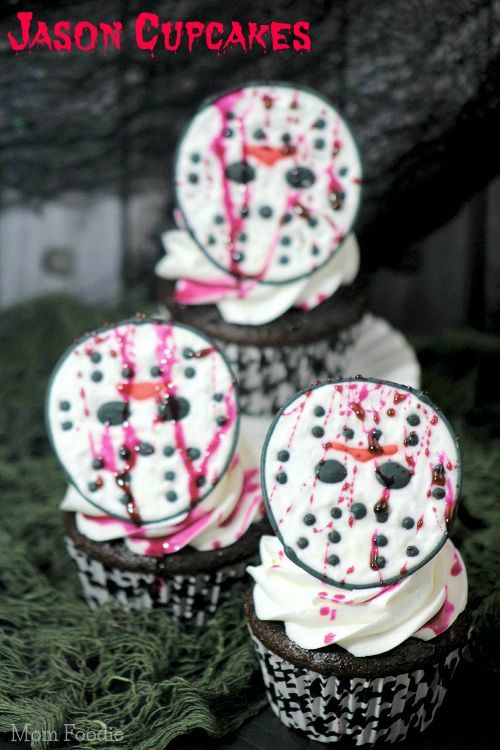 Jason Halloween Cupcakes - Jason Vorhees can grace your cupcakes this Halloween, or at least a rendition of his mask made so popular in the Friday the 13th movie series can