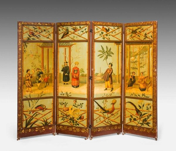 A fine 19th Century Four fold Panel Screen - Windsor House Antiques