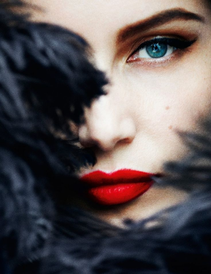 Mario Testino red lips blue eyes woman