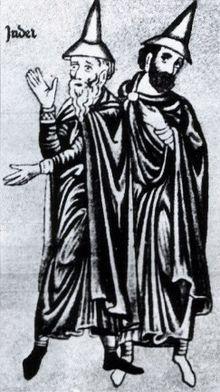 Representació medieval de dos jueus alemanys, amb els típics barrets que els identificaven