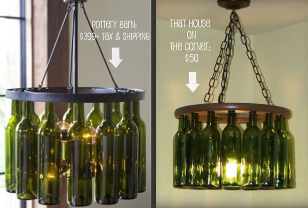 If you'd like to create a $50 wine bottle chandelier like Brandon and Caitlin did, head on over to their blog to read all about how they did it!