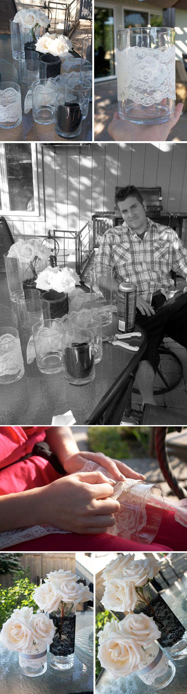 DIY Lace Vases ..... @Marisa Rouzic McClellan McClellan Elizabeth @Kathi Bishop Bishop Bishop Visperas @Yolanda Imamura Imamura Imamura Calimpong